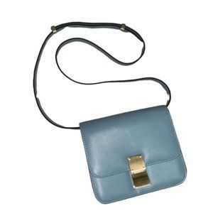 Handbags - Blue crossbody bag gold hardware Square purse